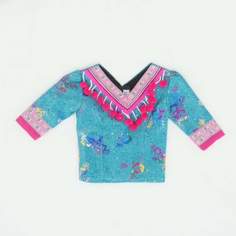 Neon Blue And Pink Pom Pom Shirt Size S/M