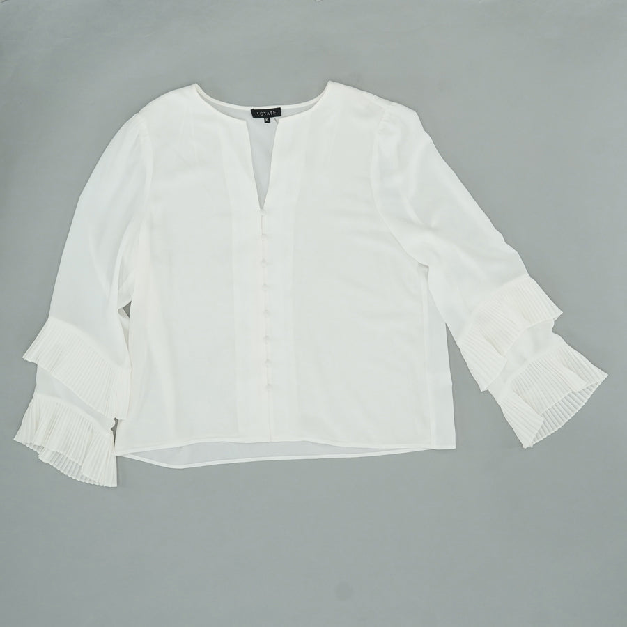Button Down Pleated Ruffle Sleeve Blouse Size XL