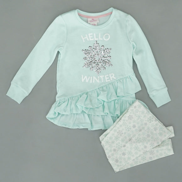 """Hello Winter"" Snowflake Sequin 2PC Set Size 4"