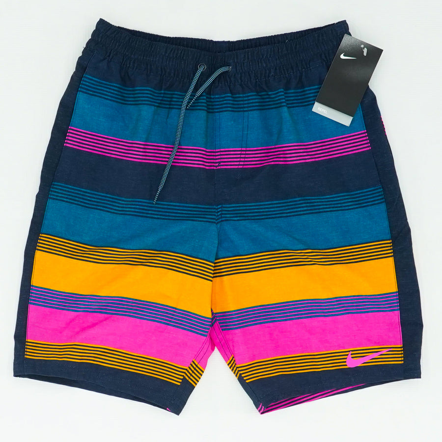 Men's 6:1 Linen Racer 9 In Striped Volley Shorts Green Abyss