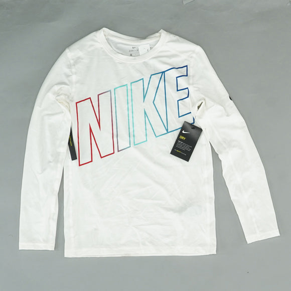 White Logo Long Sleeve Shirt Size L