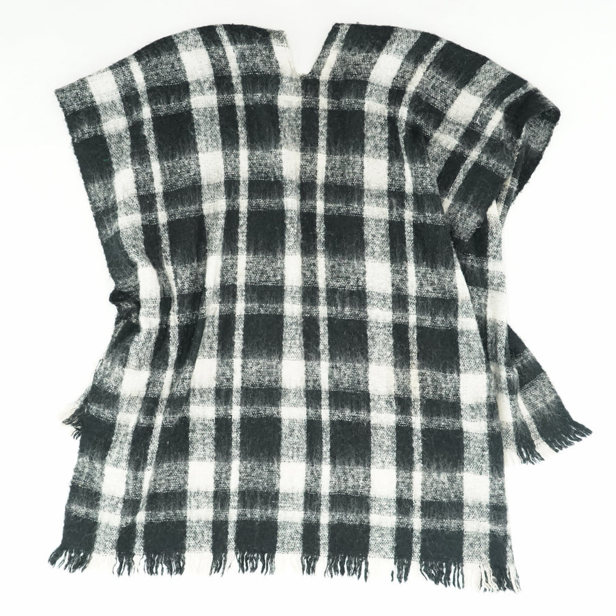 Plaid Open Front Poncho OS