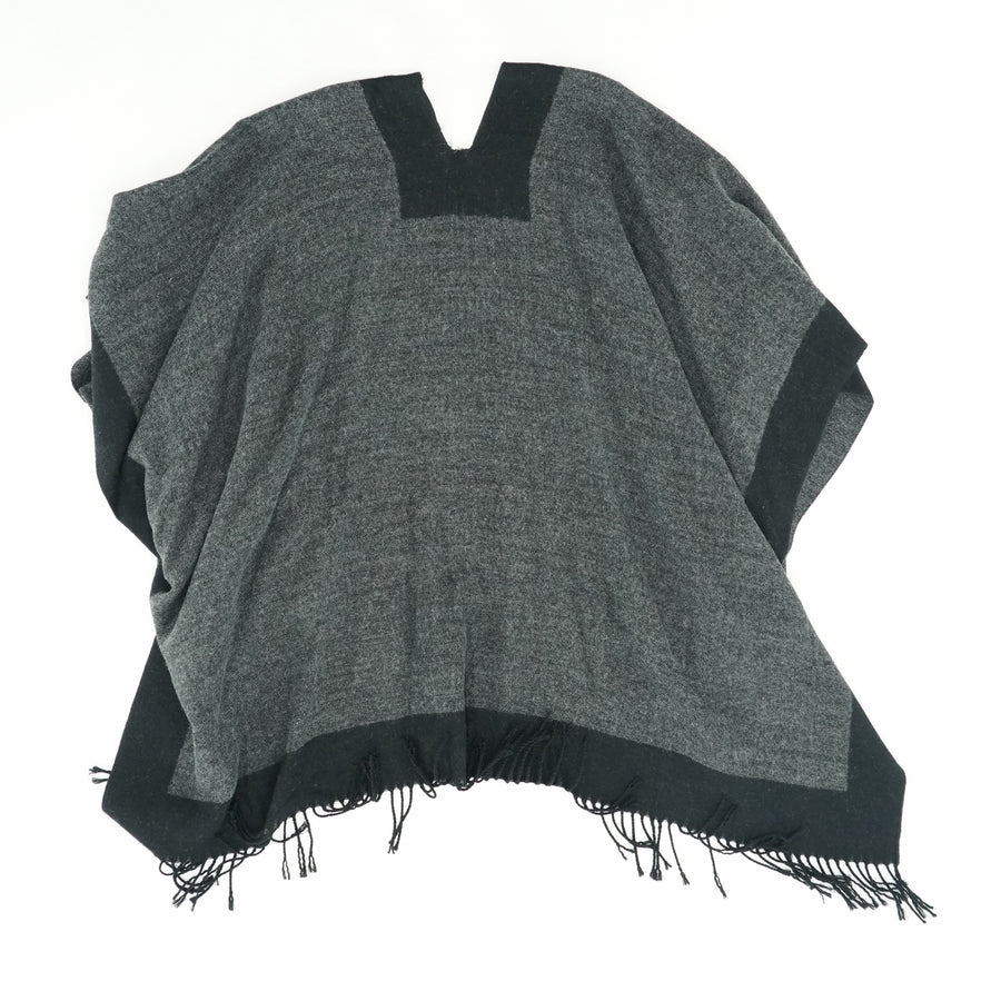 Black and Gray Open Poncho