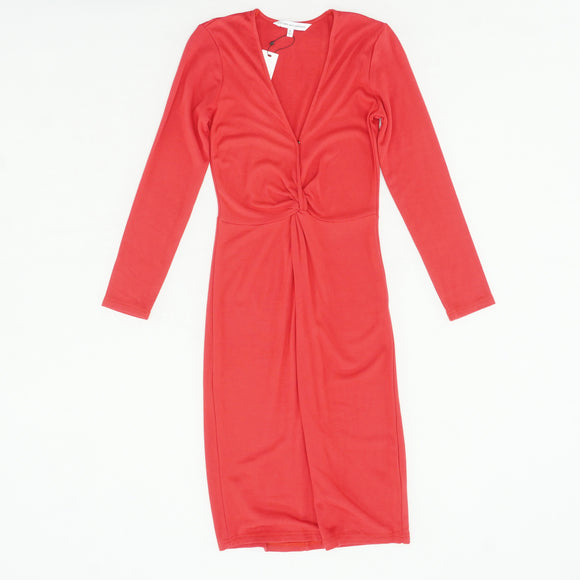 Red Long Sleeve Midi Dress Size S