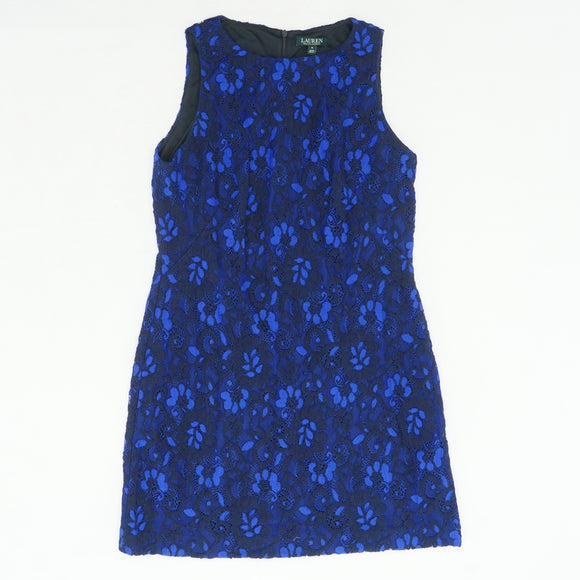 Navy Floral Lace Dress Size 16