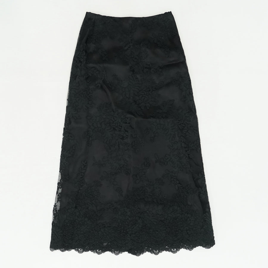 Scalloped Satin Trimmed Guipure Lace Skirt Size 2