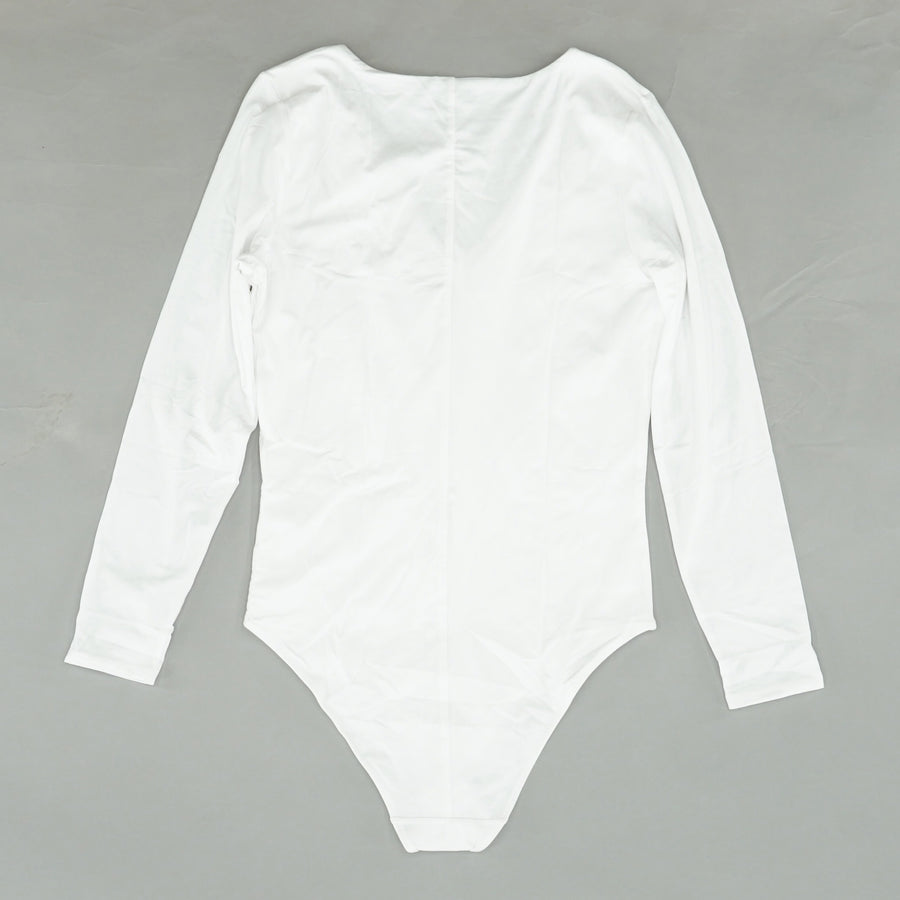 White Solid V-Neck Bodysuit Size L