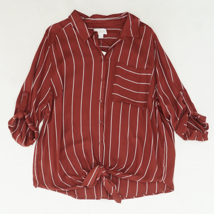 Striped Tie-Front Button Down Blouse