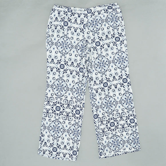 Stately Ivory Navy Pants Size L