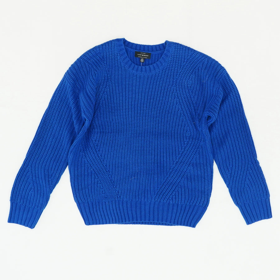 Blue Knit Crew Neck Sweater