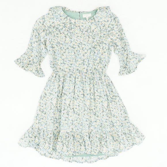 Green Ruffle Trim Floral Dress Size 9/10