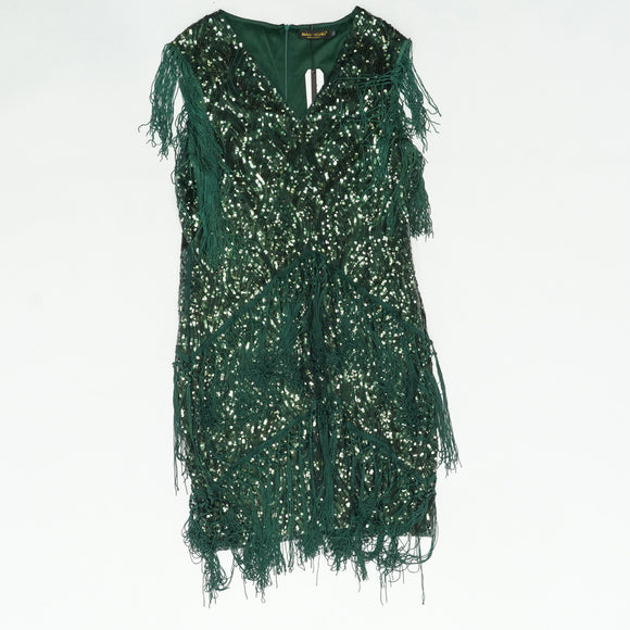 1920's Emerald Green Fringe Sequin Plus Size Dress