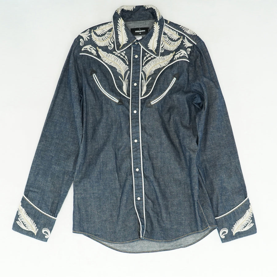 Denim Western Shirt with Embroidery Size 52