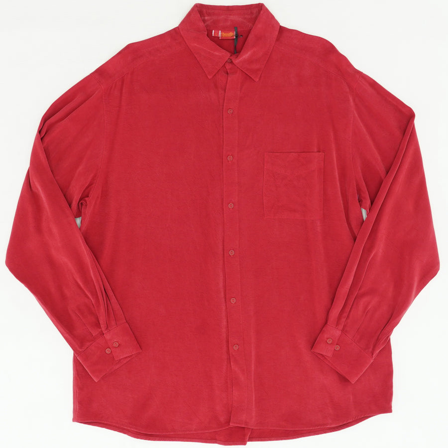 Red Long Sleeve Button Down Shirt Size L