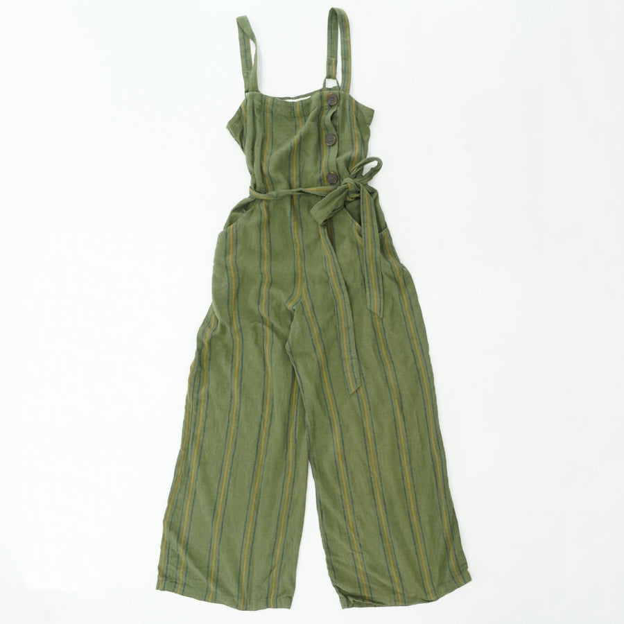 Striped Linen Button Overall With Belt Jumpsuit Size M