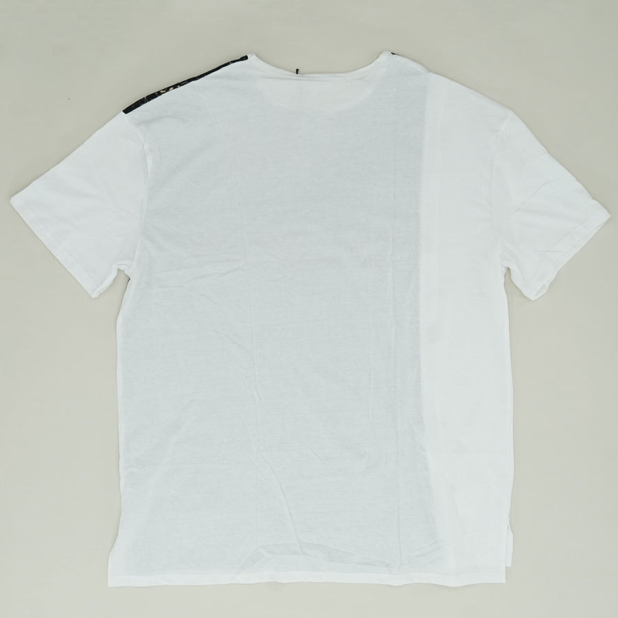 White Marble T-Shirt With Zipper Size 5XL