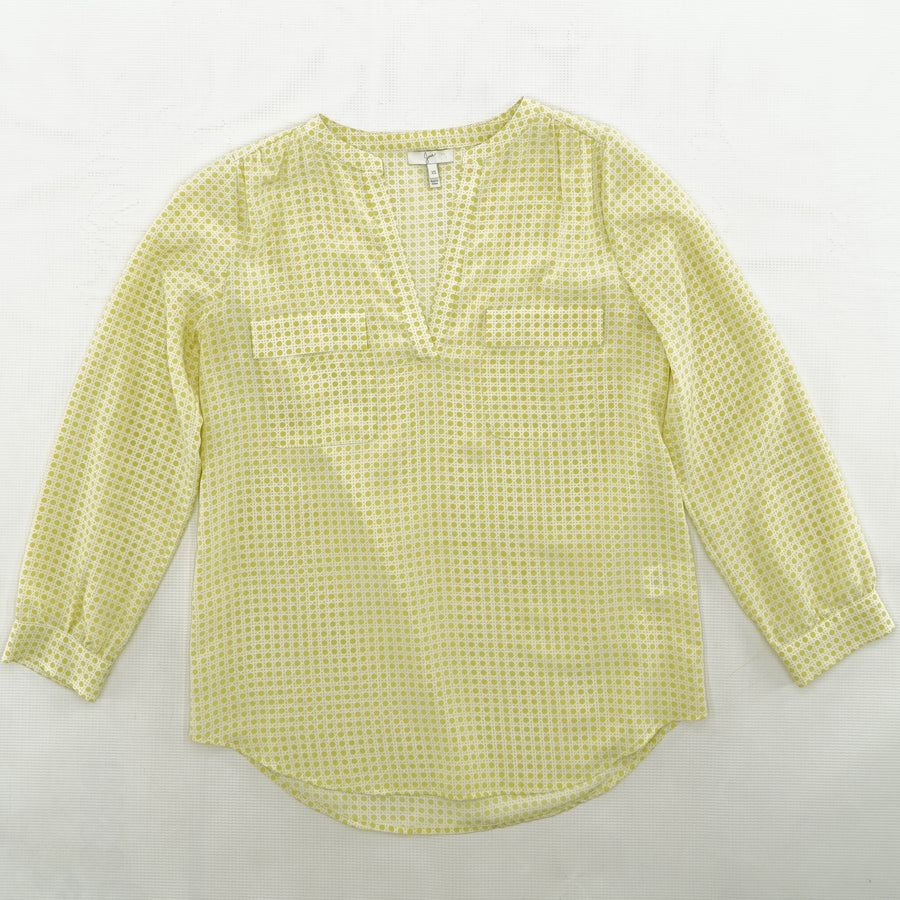 Casual Blouse With Green Dotted Detail Size XS