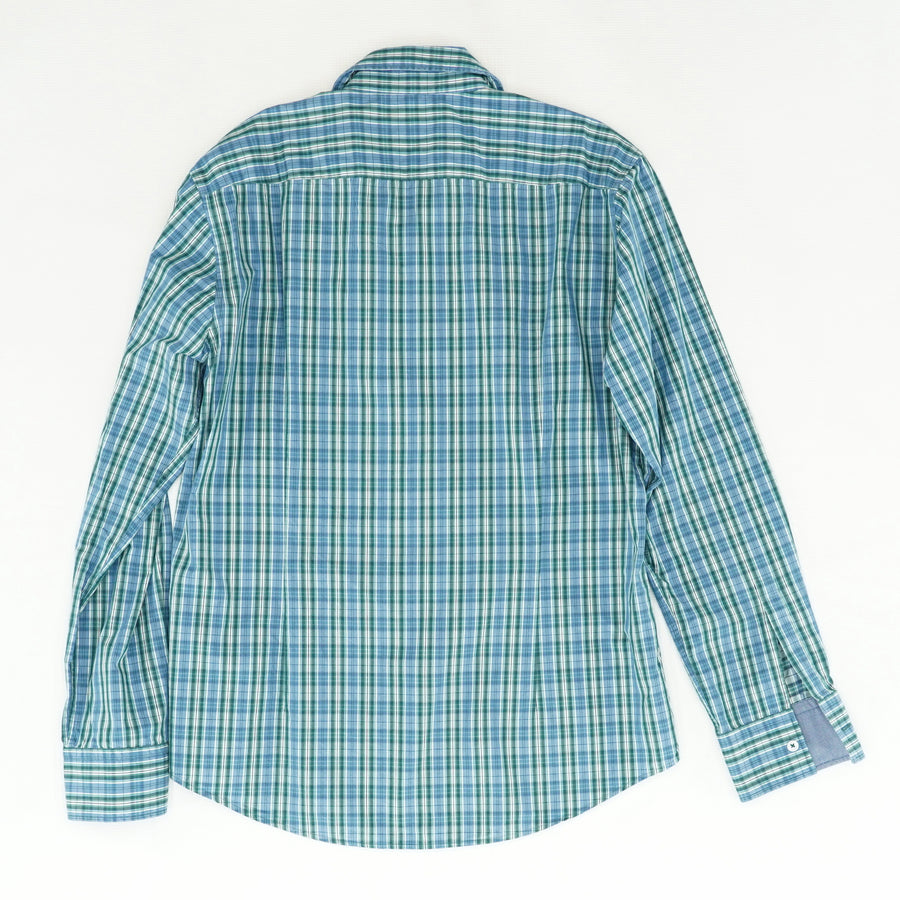 Slim Fit Blue & Green Plaid Button Down - Size L