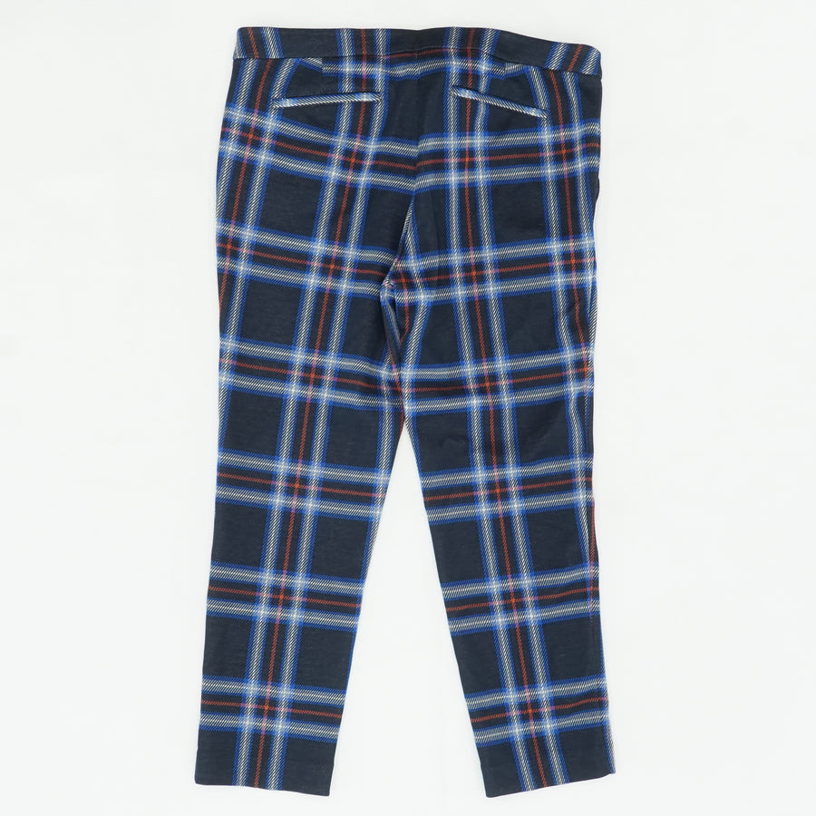 Navy Plaid Jaquered Cropped Pant