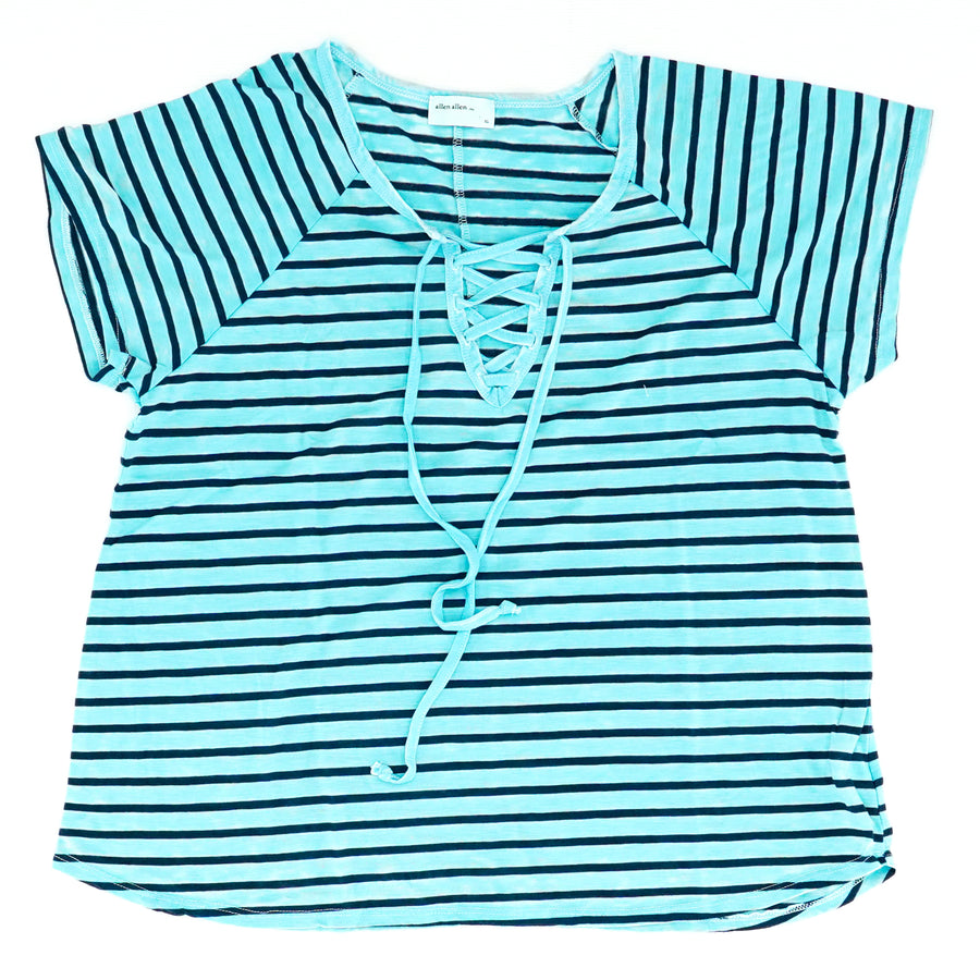 Navy Small Striped Lace up Knit TopSize XL