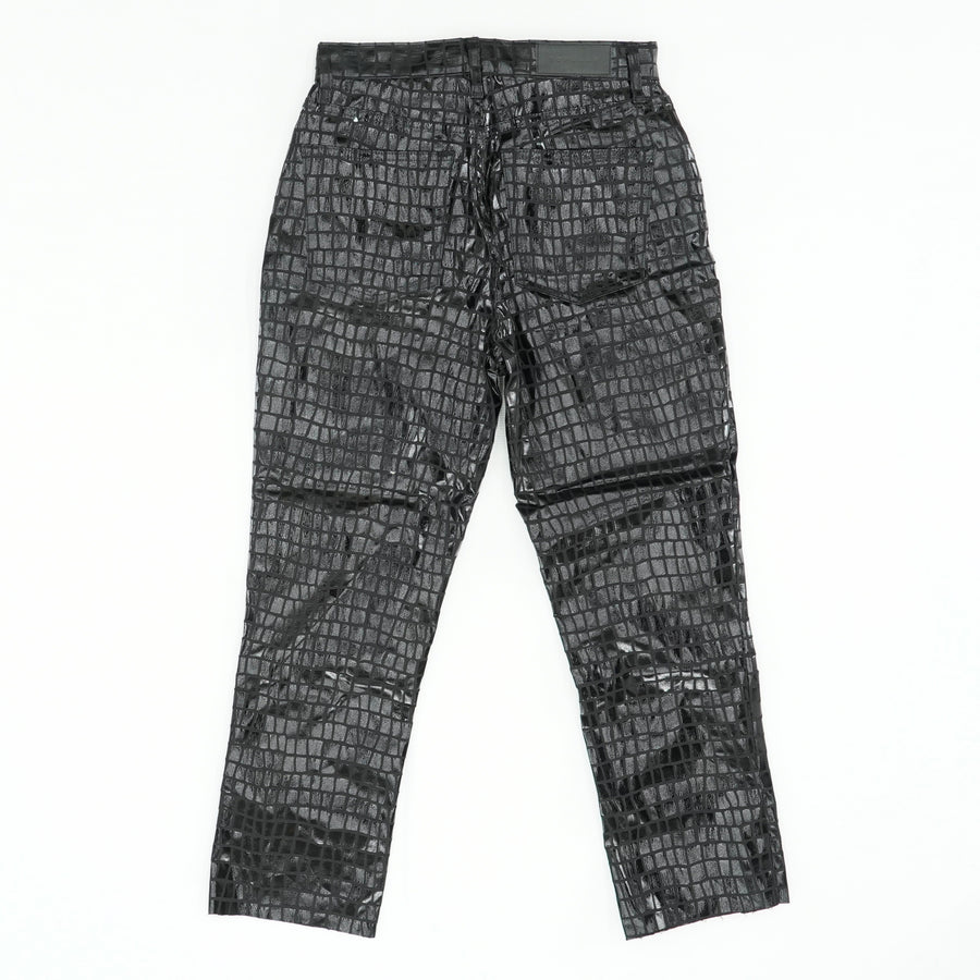 Pleather Checked Black Slacks Unhemmed Size 8