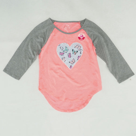 Pink Heart Graphic Two-Way Sequin Tee Size 7/8