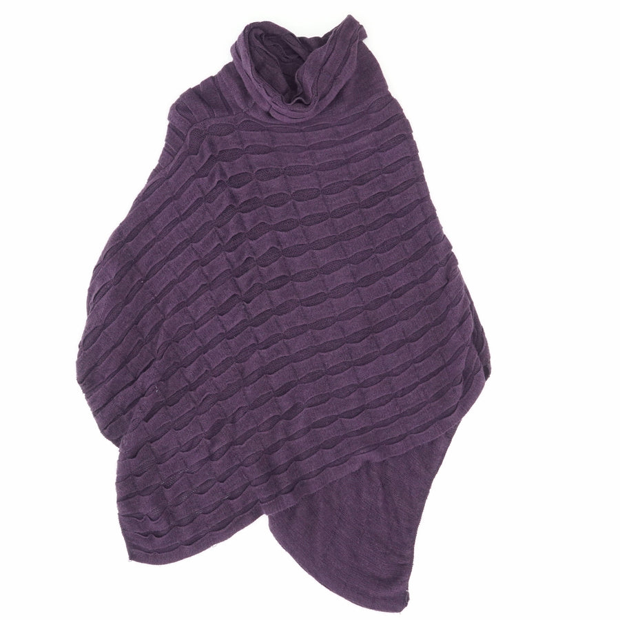 Plum Scalloped Asymmetrical Cowl Neck Poncho