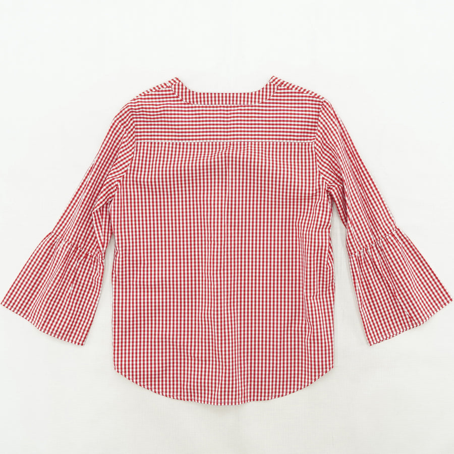 Checked Embroidery Detailed Blouse Size M
