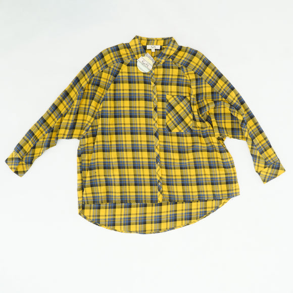 Mustard Plaid Long Sleeve Button Down Size S