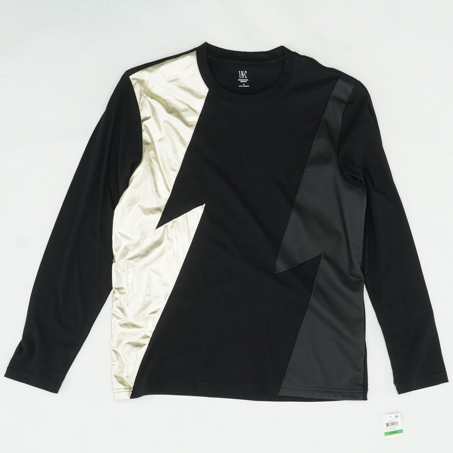Metallic Faux-Leather Lighting-Strike Long-Sleeve Shirt