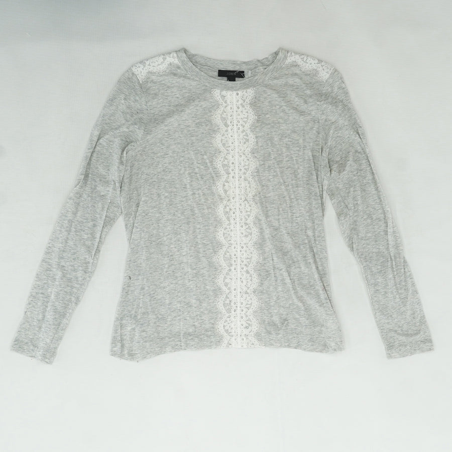 Gray Long Sleeve T Shirt With Lace Detail Size S