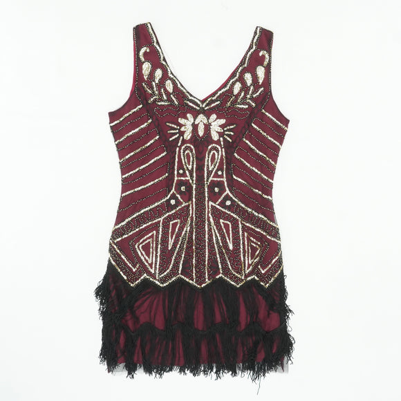 1920's Gold Wine Red Fringe Flapper Plus Size Dress