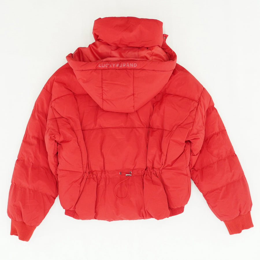 Cinch Waist Hooded Puffer Jacket