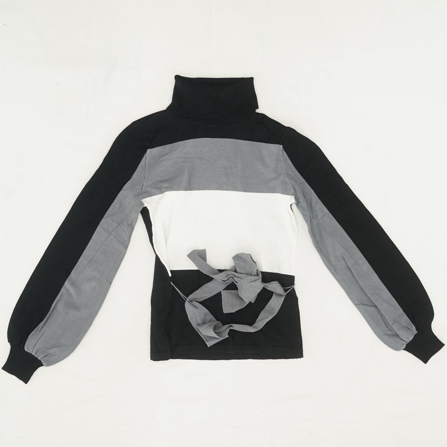 Color Block Turtleneck Sweater Size XS