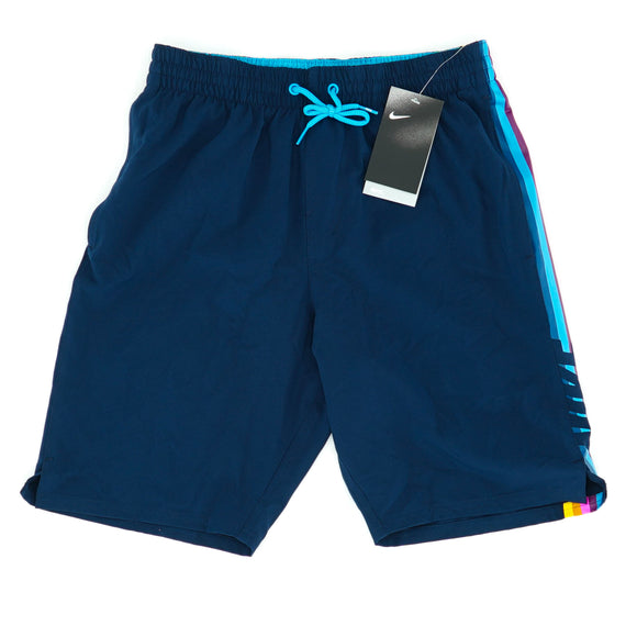 Retro Side Stripe Stretch Water Repellant Swim Trunks