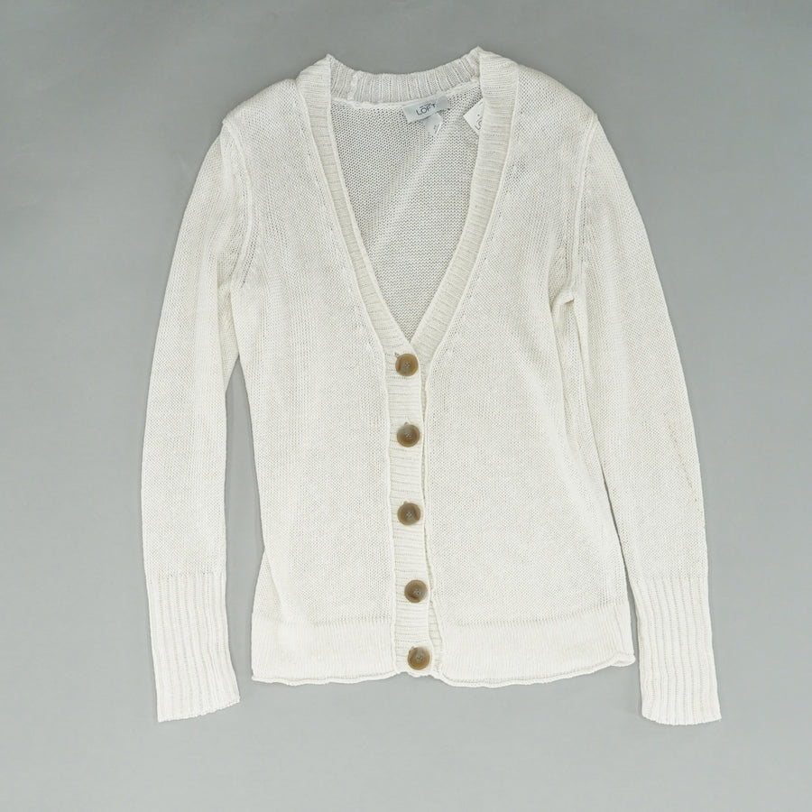 White Button Down Linen Cardigan - Size XS
