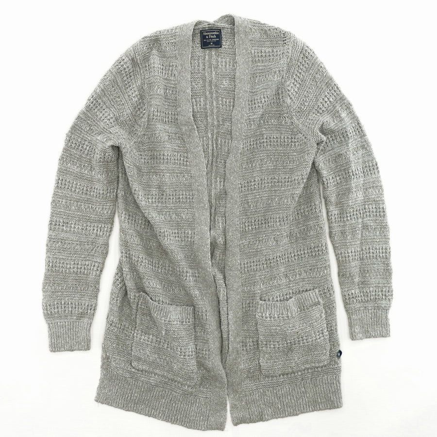 Gray Long Solid Cardigan Size M