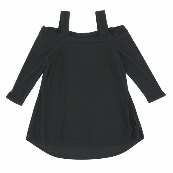 C/S High Low Blouse Black