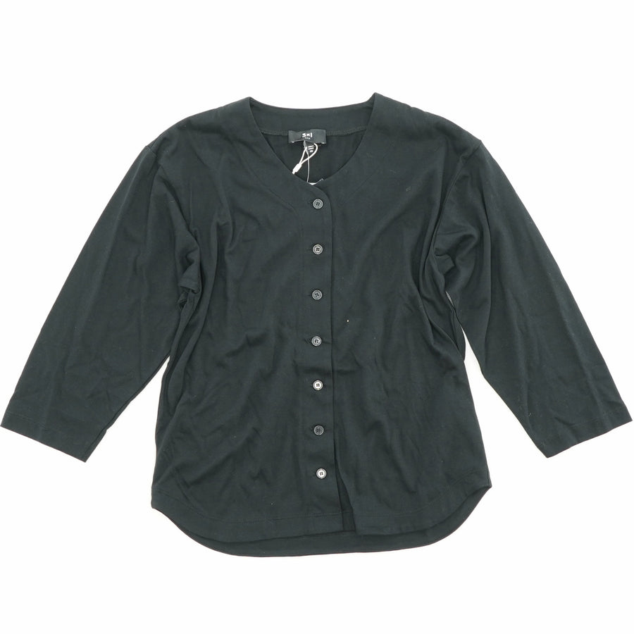 Black 3/4 Sleeve Button Up