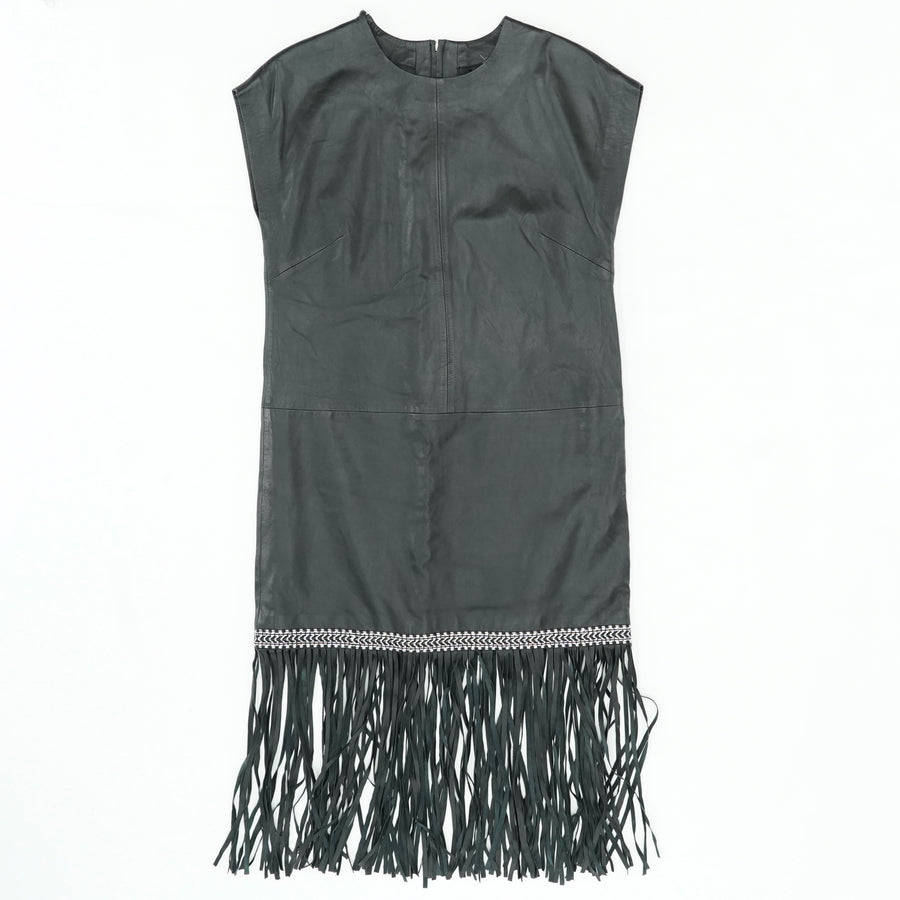 Black Leather With Fringe Dress Size 6