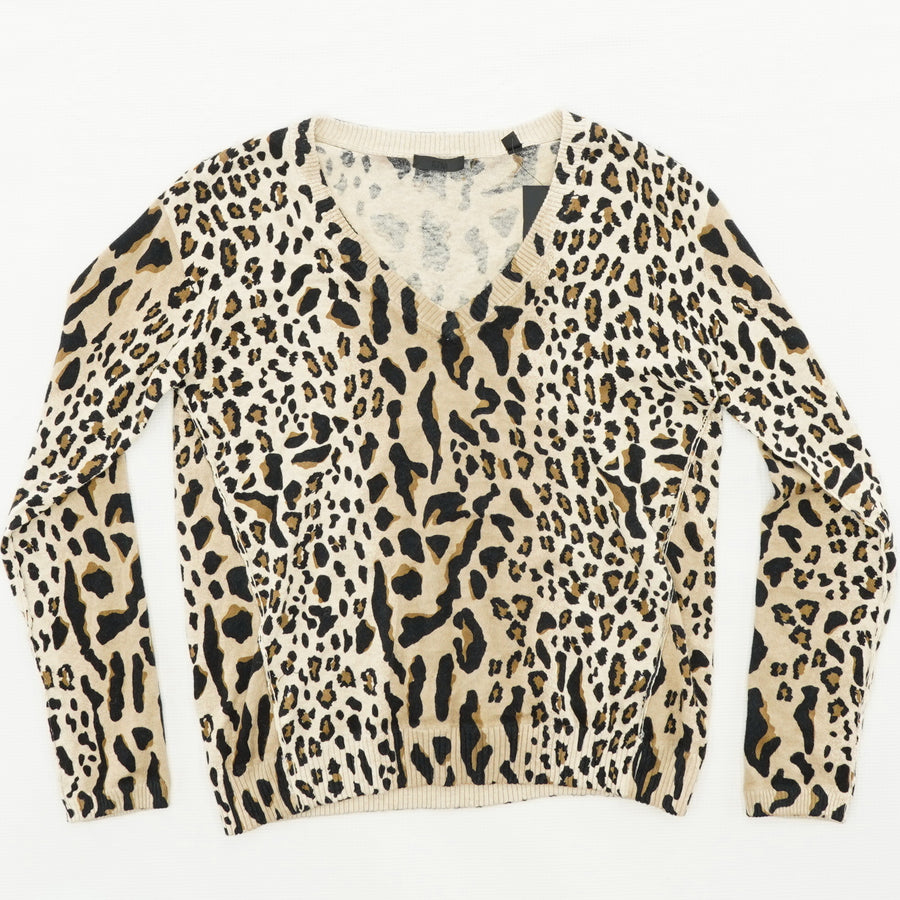 Cheetah Print V-Neck Sweater Size S