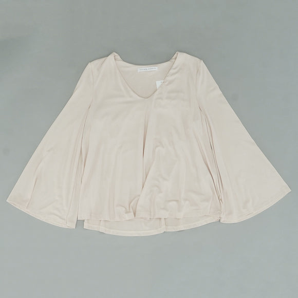 Creme V-Neck Flared Blouse Size M