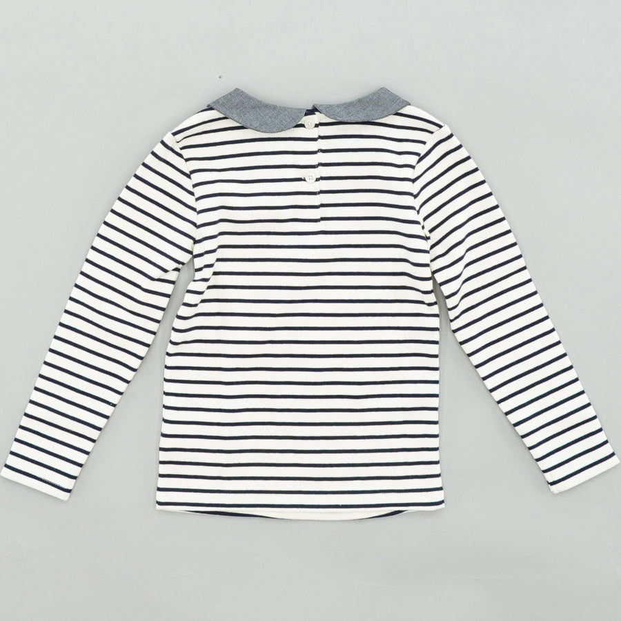 Collared Striped Thermal Blouse Size 4