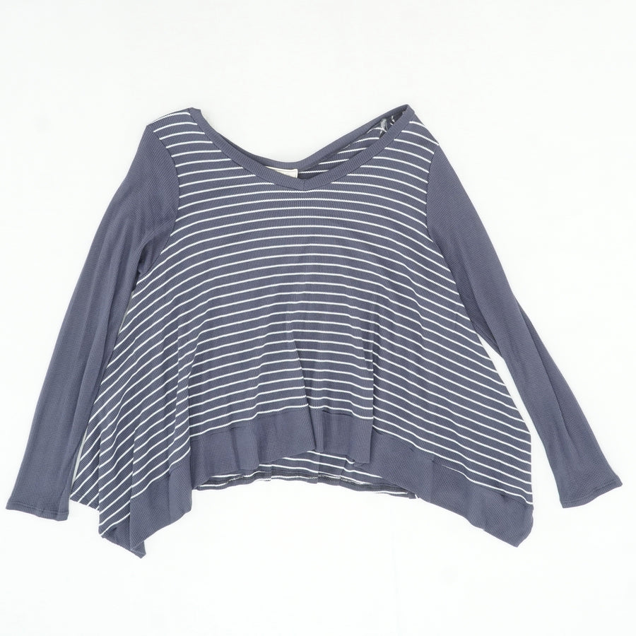 Blue Gray Striped Long Sleeve Shirt Size L