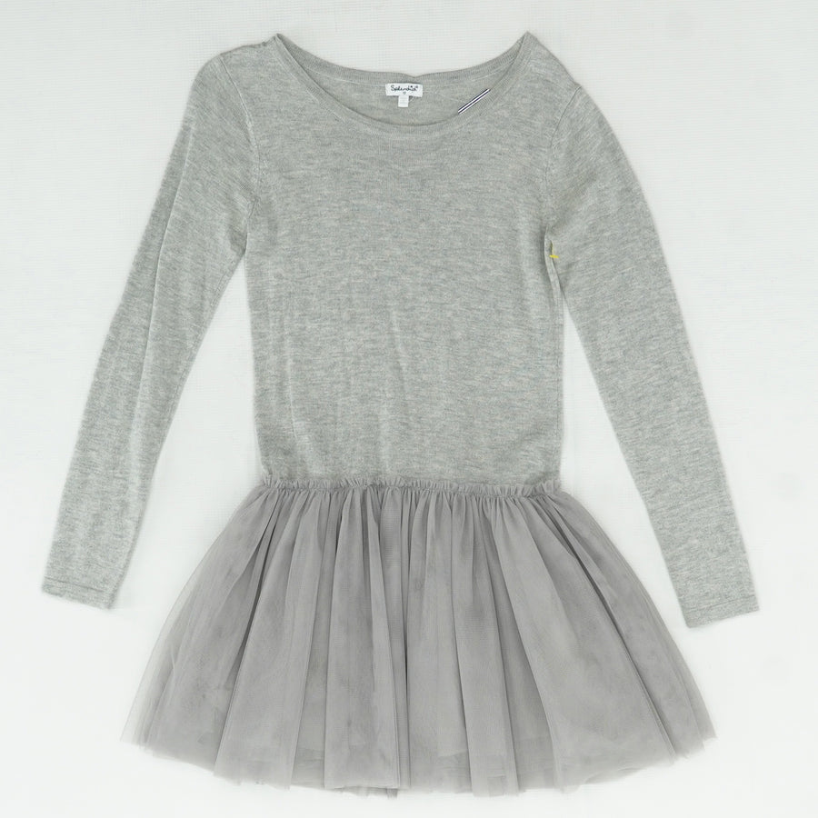 Gray Heather Tulle Bottom Sweater Dress Size 12