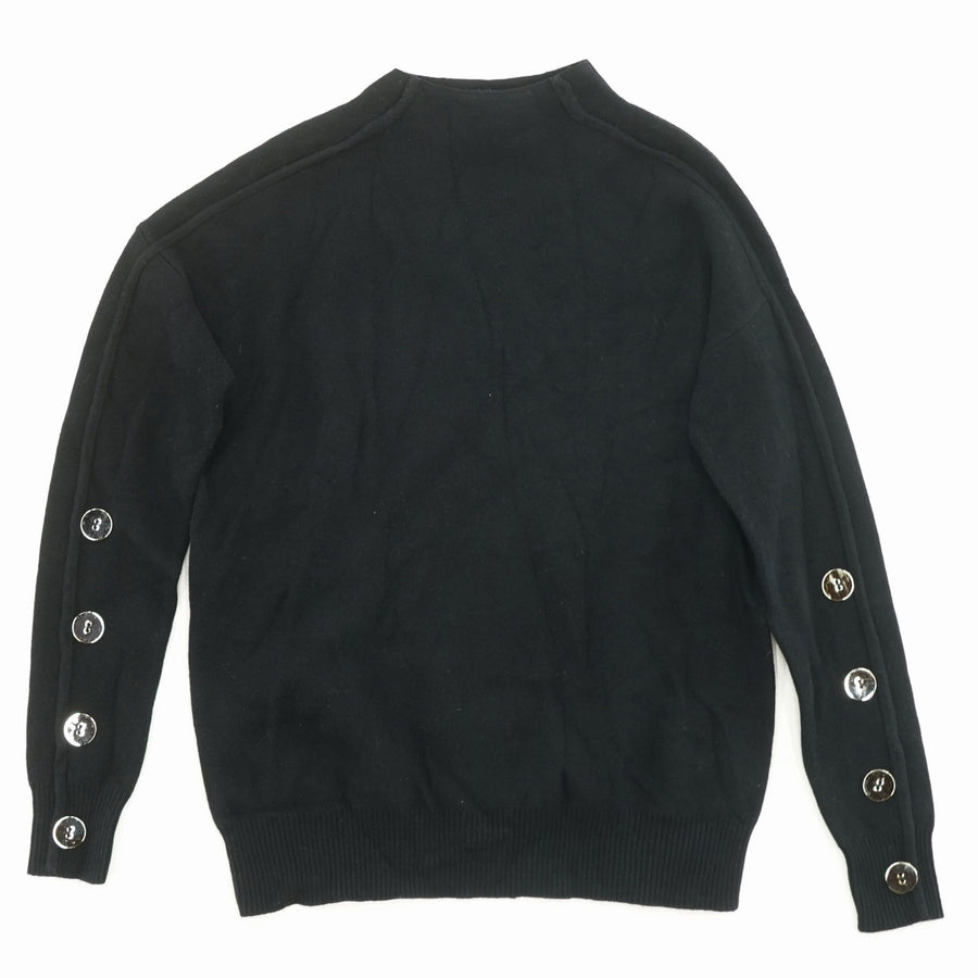 Button Sleeve Sweater-Black Size XS