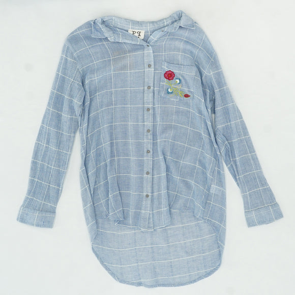 Blue High Low Button Down Size L