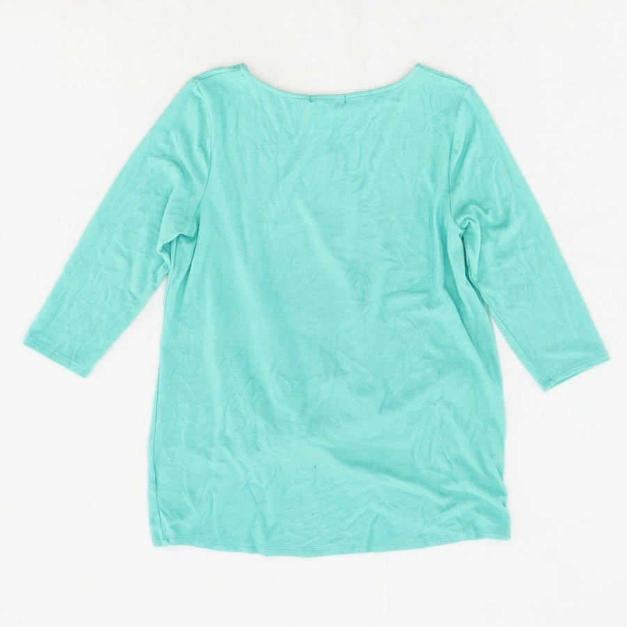 Blue Twist Front Brushed Hacci Sweatshirt Size M