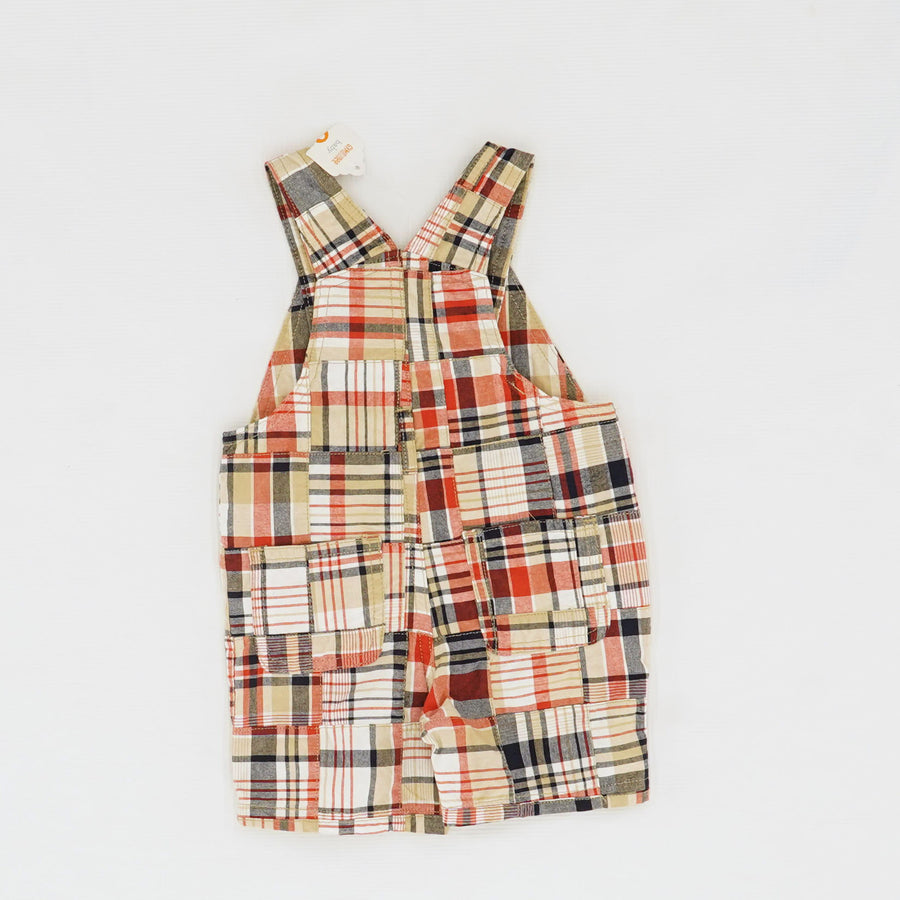 Boys' Plaid Shortalls Size 6-12M