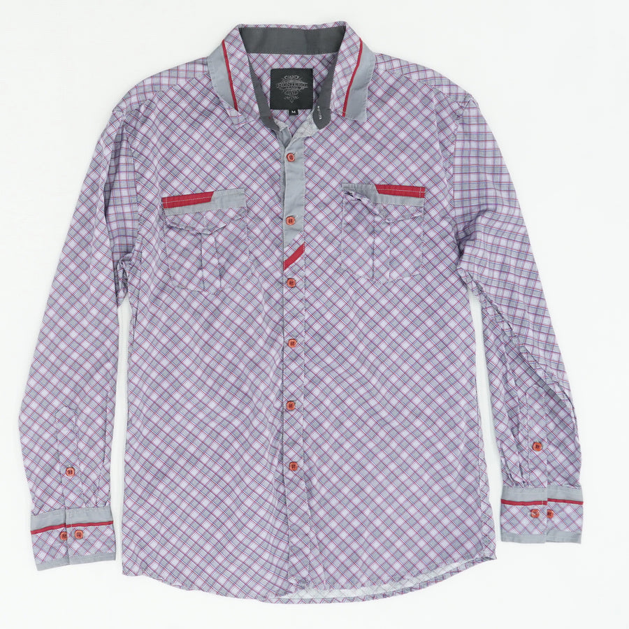 Checked Red Buttons ,Button Down Shirt Size M